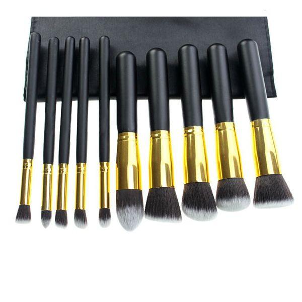 Kit 10 pincéis dourado e preto.